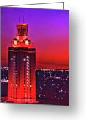 Longhorns Greeting Cards - UT Tower Number One Greeting Card by Gary Dow