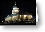 Legislature Greeting Cards - Utah Capitol at Night Greeting Card by Gary Whitton
