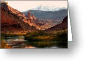 Snow Capped Photo Greeting Cards - Utah Colorado River Greeting Card by Marilyn Hunt