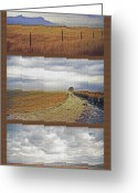 Rural Landscapes Mixed Media Greeting Cards - Utah Farmland Triptych Greeting Card by Steve Ohlsen