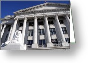 Legislature Greeting Cards - Utah State Capitol Building with Lion Statue Greeting Card by Gary Whitton