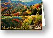Autumn Colors Greeting Cards - Utah Wasatch National Forest Greeting Card by Vintage Poster Designs