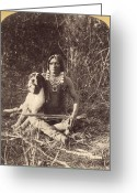 Ute Greeting Cards - UTE MAN WITH DOG, c1874 Greeting Card by Granger
