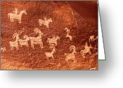 Petroglyph Greeting Cards - Ute Petroglyphs Greeting Card by Adam Pender