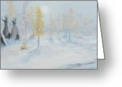Ute Greeting Cards - Ute Winter Camp Greeting Card by Jerry McElroy