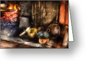 Copper Greeting Cards - Utensils - Colonial Kitchen Greeting Card by Mike Savad