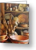 Wooden Bowls Greeting Cards - Utensils - Remembering Momma Greeting Card by Mike Savad