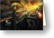 Future Tech Greeting Cards - Utherworlds Battlestar Greeting Card by Philip Straub
