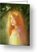 Fairy Mixed Media Greeting Cards - Utherworlds Lealinnia Greeting Card by Philip Straub
