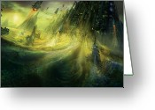 Nightmares Greeting Cards - Utherworlds Monolith Greeting Card by Philip Straub