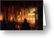 Nightmares Greeting Cards - Utherworlds The Gathering Greeting Card by Philip Straub