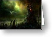 Nightmares Greeting Cards - Utherworlds Where Fears Roam Greeting Card by Philip Straub