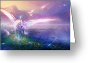 Fantasy Art Greeting Cards - Utherworlds Winter Dawn Greeting Card by Philip Straub