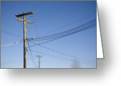 Communicating Greeting Cards - Utility Pole and Power Lines Greeting Card by Paul Edmondson