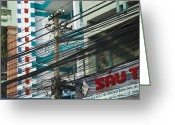 Horizontal Lines Greeting Cards - Utility Pole in SaigonHo Chi Minh City, Vietnam Greeting Card by David Buffington