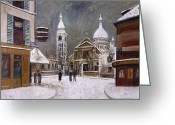 Street Scene Greeting Cards - Utrillo: Montmartre, 1931 Greeting Card by Granger