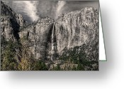 Grey Clouds Greeting Cards - Uy Falls Greeting Card by Stephen Campbell