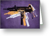 Pop Art Digital Art Greeting Cards - Uzi Sub Machine Gun on Purple Greeting Card by Michael Tompsett