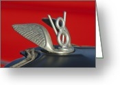 V Greeting Cards - V-8 Hood Ornament Greeting Card by Jill Reger