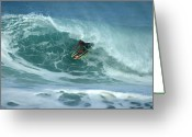 Surf Art Greeting Cards - V Land Tube Action Greeting Card by Brad Scott