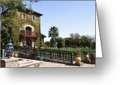 Tuscan Greeting Cards - V Sattui Winery Building Napa Valley California Greeting Card by George Oze