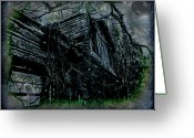 Abandoned Houses Digital Art Greeting Cards - Vacancy at the Inn Greeting Card by Leslie Revels Andrews