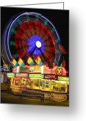 Storm Posters Greeting Cards - Vacant carnival bench Greeting Card by James Bo Insogna