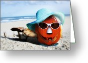 Trick Greeting Cards - Vacationing Jack-o-lantern Greeting Card by Gravityx Designs