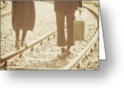Railroad Tracks Greeting Cards - Vagabonds Greeting Card by Joana Kruse