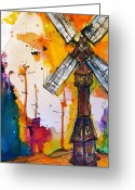Windmill Mixed Media Greeting Cards - Vagrant Windmill Greeting Card by Dan MacCosbe