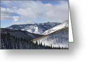 Mountain Summit Greeting Cards - Vail Valley from Ski Slopes Greeting Card by Brendan Reals