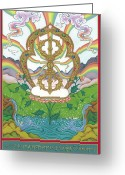 Iconography Painting Greeting Cards - Vajra Greeting Card by Carmen Mensink