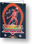 Iconography Painting Greeting Cards - Vajrayogini Greeting Card by Carmen Mensink