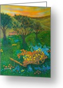 Tuscan Greeting Cards - Val DOrcia Greeting Card by Pamela Allegretto