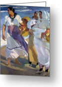 Shores Painting Greeting Cards - Valencian Fisherwomen Greeting Card by Joaquin Sorolla y Bastida