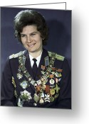 Officer In Uniform Greeting Cards - Valentina Tereshkova, Soviet Cosmonaut Greeting Card by Ria Novosti