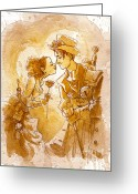 Love Painting Greeting Cards - Valentine Greeting Card by Brian Kesinger