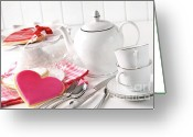 Cookie Photo Greeting Cards - Valentine cookies with teapot and cups Greeting Card by Sandra Cunningham