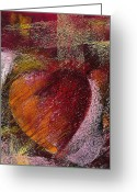 Red Pastels Greeting Cards - Valentine Heart Greeting Card by David Patterson