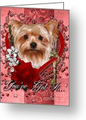 Canine Greeting Cards - Valentines - Key to My Heart Yorkshire Terrier Greeting Card by Renae Frankz