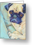 Dog Prints Pastels Greeting Cards - Valentino Greeting Card by Pat Saunders-White