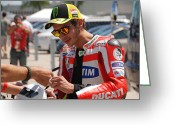 Motogp Greeting Cards - Valentino Rossi Signing Greeting Card by Kelly Nickels