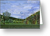 Carolina Painting Greeting Cards - Valle Crucis 1 View from Herb Thomas Road Greeting Card by Micah Mullen
