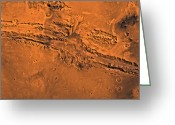 Gully Greeting Cards - Valles Marineris, The Great Canyon Greeting Card by Stocktrek Images