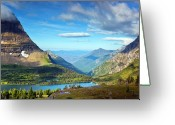 Glacier Greeting Cards - Valley Beyond Greeting Card by Rebecca L. Latson