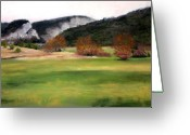 Lanscape Pastels Greeting Cards - Valley Landscape Early Fall Greeting Card by Cindy Plutnicki