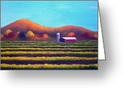 Autumn In The Country Painting Greeting Cards - Valley of Abundance Greeting Card by Amy Scholten