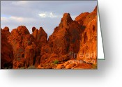 Red Rocks Greeting Cards - Valley of Fire - The landscape burns Greeting Card by Christine Till - CT-Graphics