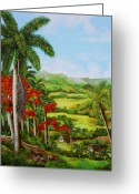 Dominica Alcantara Greeting Cards - Valley of Yumuri Greeting Card by Dominica Alcantara