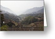 Tiled Roof Greeting Cards - Valley Pass Through Mountains Greeting Card by Shannon Fagan
